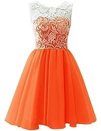 Orange Laced Short Prom Dresses