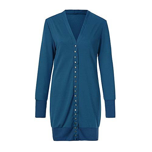 Open Sleeve Long DOLDOA Drape Button Womens Loose Down Sweater Blue Cardigan Fashion Tops Casual Front Plus tBPw4qgB
