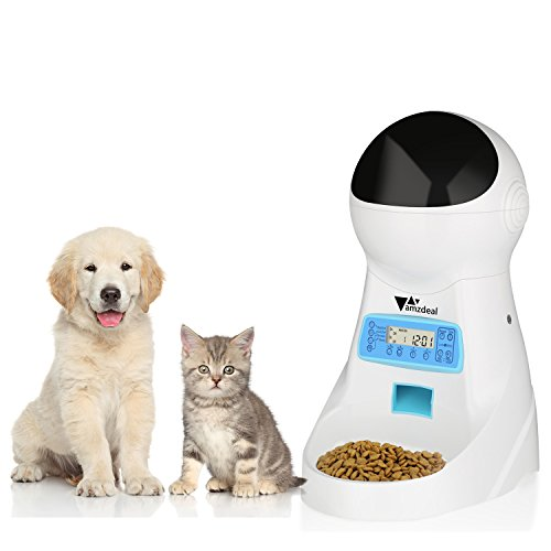 41h7gzfALgL - Amzdeal Automatic Cat Feeder Pet Dog Feeder Food Dispenser with Timer, LCD Display and Sound Recording