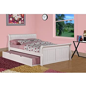 Donco Kids Full Sleigh Twin Trundle Bed 689461  White. Amazon com  Donco Kids Full Sleigh Twin Trundle Bed 689461  White