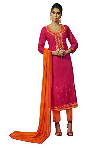 Ladyline Womens Plain Salwar Kameez Embroidered Pants Style Indian ()