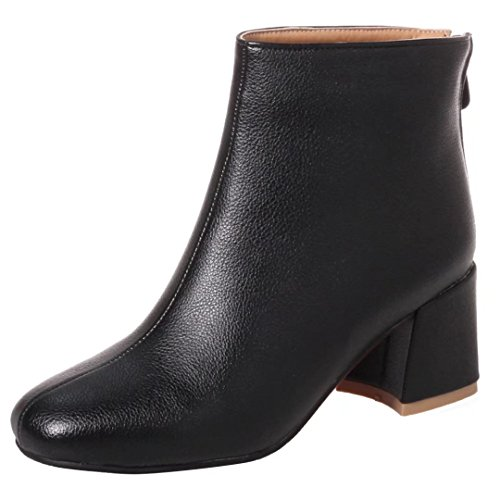 Mid Zip Block Boots Heel Heels Ladies 2 Boots 6 Ankle High AIYOUMEI 5 Chunky 3 8 4 Black UK Womens Shoes pq5FB