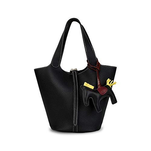 Ophlid Women's PU Leather Bucket Bags Handbag Fashion Shoulder Bag Top Handle Handbag