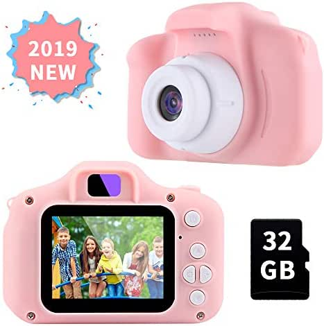 OMWay Gifts for 3 4 5 6 7 8 Year Old Girls, Camera for Kids, Toys for 5 6 7 8 Year Old Toddlers,Kids, 8MP HD Video Camera, Pink(32GB SD Card Included).