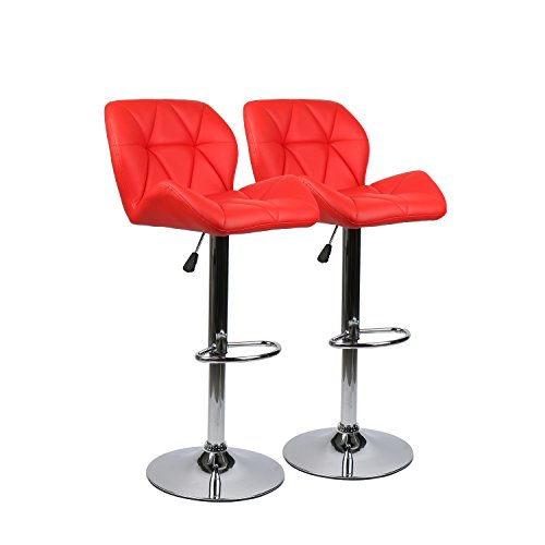 PULUOMIS Set of 2, Bar Stools Modern Hydraulic Adjustable Swivel Barstools, Leather Padded with Back, Dinning Chair with Chrome Base, Red (Bar Chair Set)