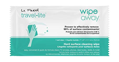 La Fresh Wipe Away Hard Surface Cleaning Wipes Removing up to 99.9% of Contaminants, 50 Travel Packets