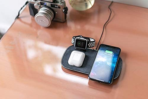 mophie 3 in 1 Wireless Charge Pad - Qi Wireless 7.5W Charging Pad for Apple iPhone, Airpods, and Apple Watch - Black
