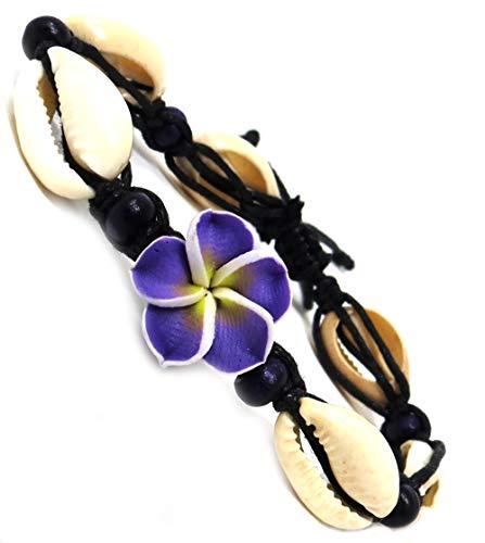 Exotic & Trendy Jewelry, Books and More Hawaiian Hemp Plumeria Flower Shell Bracelet Fimo Flower Bracelet (Purple Fimo - Black Hemp)
