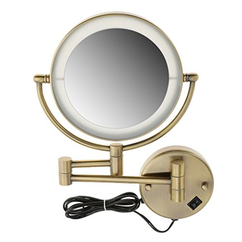 MonkeyJack Beauty LED Lighted Wall Mount Makeup Shaving Round Mirror, 3x/ 5x/ 7x Magnification, 8 inch, Extending Folding Chrome/ Bronze Finish - Bronze, 5x Magnification (Mirror Extending Bathroom)
