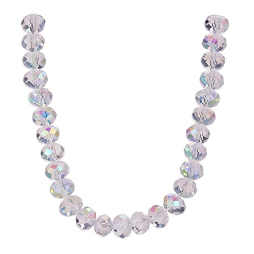 50Pcs Glass Crystal Faceted Rondelle Spacer Loose Beads Jewelry Findings 8x6mm Lot Color (Half Clear AB)