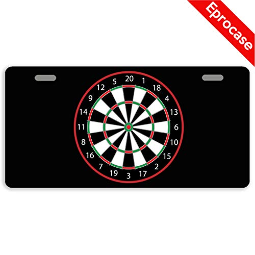 Eprocase License Plate Dart Board License Plate Cover Decorative Car Tag Sign Metal Auto Tag Novelty Front License Plate 2 Holes (11.8