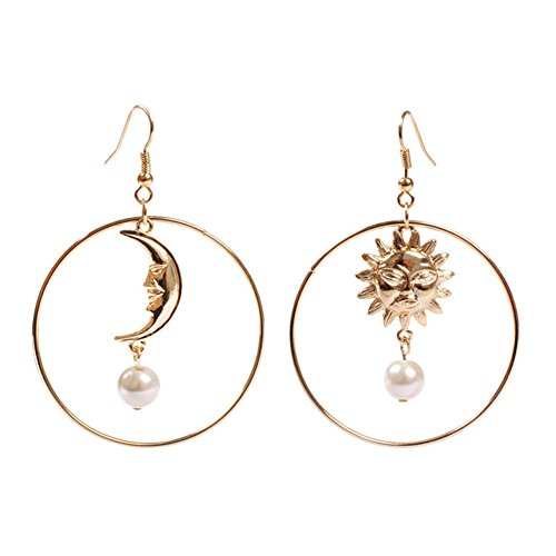 18K Gold Plated asymmetric Moon and star With imitation Pearl Insert Women big Round dangle Earrings