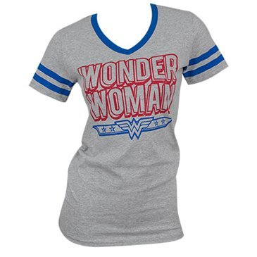 Dc Comics Wonder Woman Blue Logo Juniors V-Neck T-shirt (Superhero Shirts Womens)