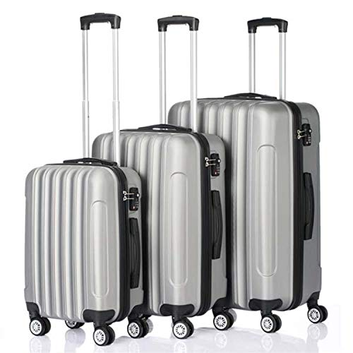 Upinva 3 Piece Suitcases with Wheels Organizer Cubes Underseat Carry On Spinner lightweight,luggage large 28 inch,Travel Suitcase TSA Lock 007 key,Silver Gray
