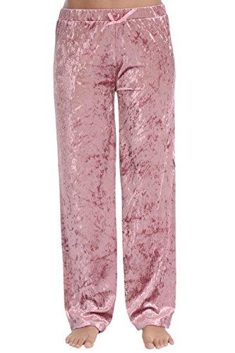Cozy Loungewear Women's Lightweight Velvet Pajama Pants (Mauvewood, M) (Purple Velvet Pants)