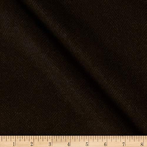 Maywood Studio Woolies Flannel Herringbone Brown Black, Fabric by the Yard