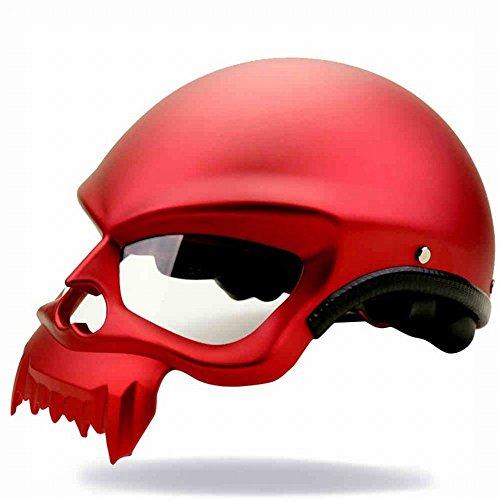 GZZ Casco de Casco Eléctrico de Motocicleta Calvo de Casco de Harley Personalizado: Amazon.es: Deportes y aire libre