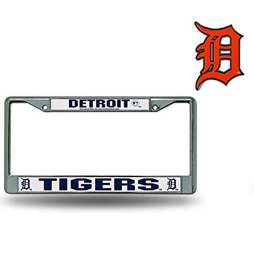 (Rico Industries Official Major League Baseball Fan Shop Licensed MLB Shop Authentic Chrome Colored License Plate Frame and Matching Chrome Emblem (Detroit Tigers - BIG))
