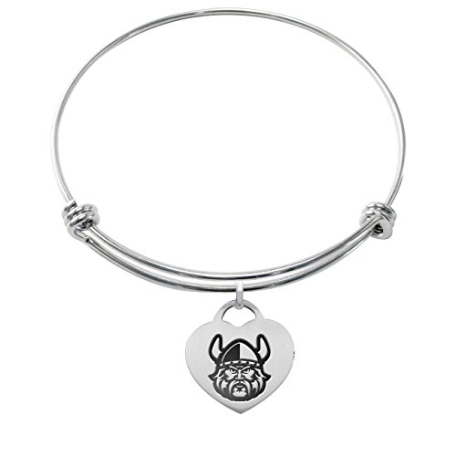Cleveland State Vikings Stainless Steel Adjustable Bangle Bracelet with Heart Charm