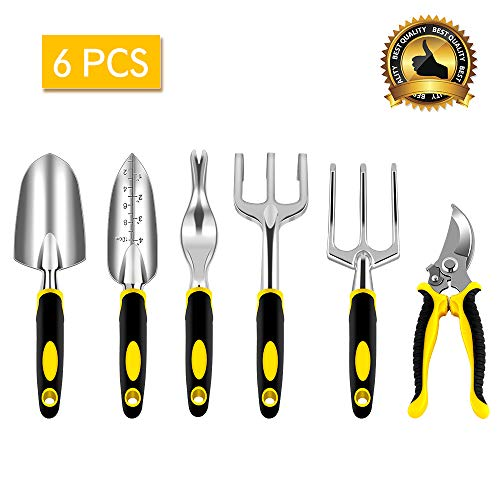 NEX Garden Tools Set, 6-Piece Gardening Kit with Heavy Duty Cast-Aluminum Heads and Ergonomic Handles, Durable and Lightweight by NEX