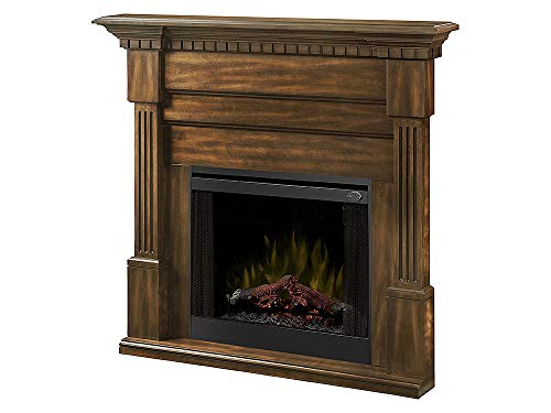 Dimplex Christina (Buildrite Series) - Classic Fireplace Mantel with Fluted Columns, Carved Dentil molding in a Burnished Walnut Finish.