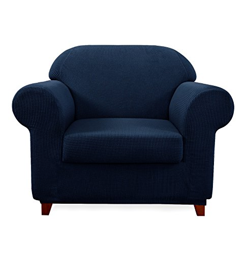 Subrtex 2-Piece Jacquard High Stretch Armchair Slipcover, Furniture Protector for Sofa, Spandex Washable 1 Seater Cushion Couch Sofa Cover Coat (Chair, Navy)