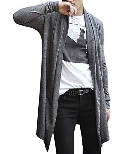 PT&Key Men's Long Cardigan Shawl Collar Fashion Cape (M, Grey) Athletic Elastic Home-wear Regular Street-Styles Tiny Walking Football