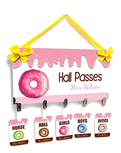 School Classroom Passes for Teacher and Student - Cute Pink Donut -