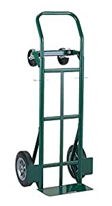 """Harper Trucks 700 lb Capacity Super-Steel Convertible Hand Truck, Dual Purpose 2 Wheel Dolly and 4 Wheel Cart with 10"""" Flat-Free Solid Rubber Wheels"""