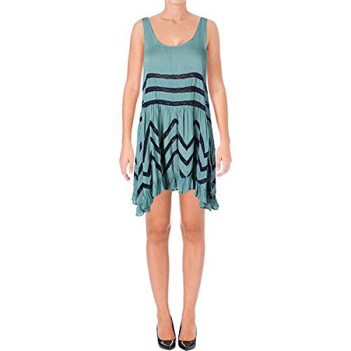 Free People Womens Lace Asymmetric Slip Dress Green Xs