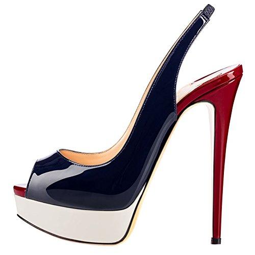 MERUMOTE Women's Slingbacks Peep Toe High Heels Shoes Platform Pumps Blue&Burgundy 9US