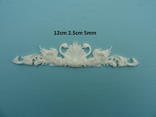 Decorative Ornate Swans Applique onlay Furniture Moulding R107