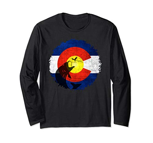Colorado Flag T-Shirt with Fly Fishing Design - Long Sleeves