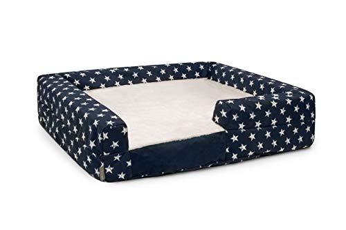 K9 Ballistics Easy Clean Dog Bed Washable Orthopedic, Urine Proof for Incontinent Dogs, Slip Off Cover (Medium (33″x27″x10″), Black Star Micro & Cream Fur)