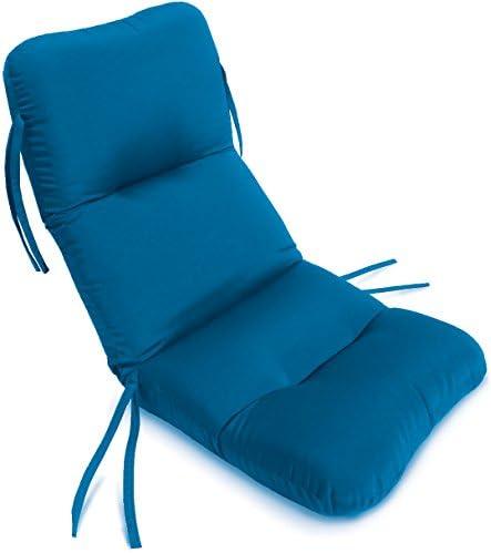 Comfort Classics Inc. 21W x 48L x 2H Hinge at 27 Sunbrella Outdoor Horizontal Quilt Chair Cushion in Pacific Blue