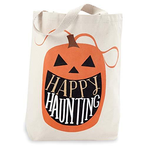 Mud Pie 4265534P Canvas Tote-Pumpkin Halloween Treat Bag, -