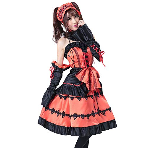 KINOMOTO Tokisaki Kurumi Cosplay Outfit Anime Costume Suit with Headband for Women Lolita Dress Suit -