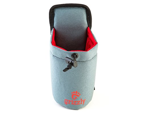 Grizzly SNAKE RIVER - GRAY Hiking, Walking, Dog Walking Adjustable Water Bottle Holder. Use for Birding, Photography, Canoeing, Archery, ATV, Camping, Attach to Belts or Grizzly Dakota Utility Belt