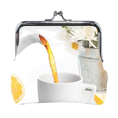 Women Bucket Flowers Daisies Saucer Spoon Cup Teapot Lemon Sugar Tea Drink Print Wallet Exquisite Clasp Coin Purse Girls Clutch Handbag