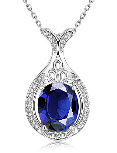 PMANY Bottle Shaped Necklace Dark Blue Rhinestone Sapphire Pendant Necklace Gift for Women