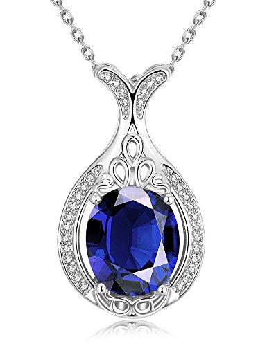 PMANY Bottle Shaped Necklace Dark Blue Rhinestone Sapphire