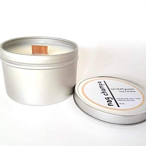Nag Champa Soy Candle with Wood Wick, 8 oz Candle Tin, Highly Scented Handmade Soy Candle