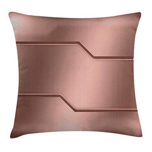 Industrial Throw Pillow Cushion Cover, Realistic Looking Steel Surface Print Plate Bar Image Technology Inspired Design, Decorative Square Accent Pillow Case, 18 X 18 Inches, Rose Gold