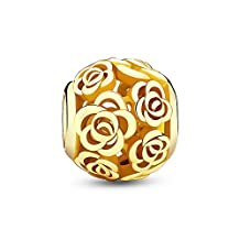 Glamulet Jewelry Women's 925 Sterling Silver Rose Story Bead Charm Fits Pandora Bracelet