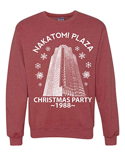 Nakatomi Plaza Christmas Party 1988 Classic McClane Die Hard Xmas | Mens Ugly Christmas Sweater Crewneck Graphic Sweatshirt, Vintage Heather Red, X-Large (Ideas Ugly Christmas Make To An Sweater)