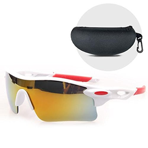 Stylish Wrap Around - Open Road UV400 Wraparound Protection Lightweight and durable Sports Sunglasses with Hard Protective Case, White