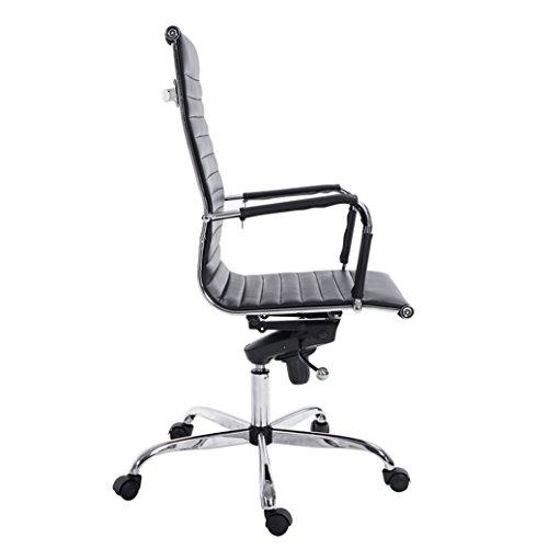Flash Furniture High Back Black Ribbed Upholstered Leather