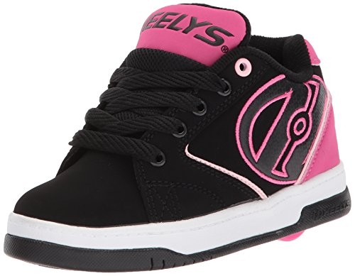 Heelys Girls' Propel 2.0 Sneaker, Black/Pink/White, 6 M US Big - Girls Black Heely Shoes