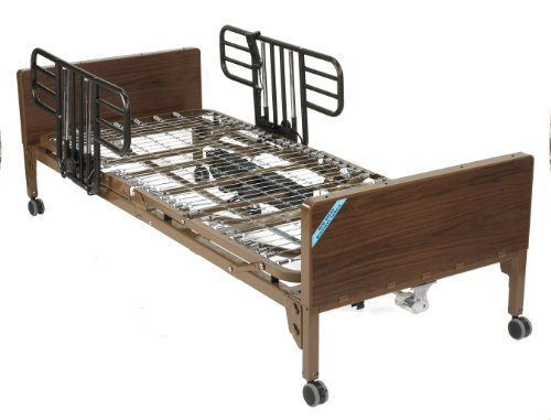 Drive Medical Full Electric Ultra Light Plus Hospital Bed, Brown, Half Rails and No Mattress, 36 Inch