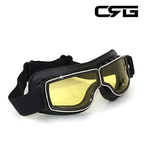 CRG Sports Vintage Aviator Pilot Style Motorcycle Cruiser Scooter Goggle T13 T13BCB - Parent (Yellow Lens Black Padding) by CRG Sports (Image #1)